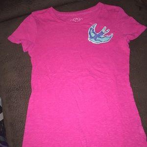 Old navy pink swallow bird shirt